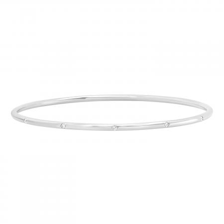 0.20 Carat (ctw) Round White Diamond Ladies Bangle 1/5 CT, 14K White Gold