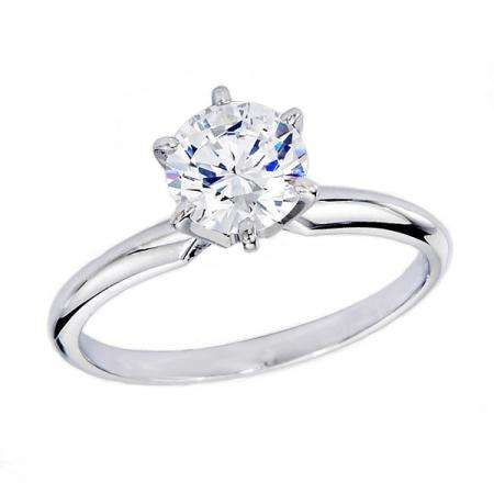 Certified 0.98 Carat (ctw) 14K White Gold Real Round Diamond Ladies Engagement Solitaire Ring