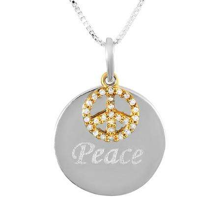 0.10 Carat (ctw) Sterling Silver Peace Charm Diamond Ladies Pendant 1/10 CT
