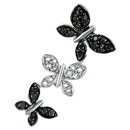 0.25 Carat (ctw) Sterling Silver Round Black and White Diamond Ladies Butterfly Pendant 1/4 CT