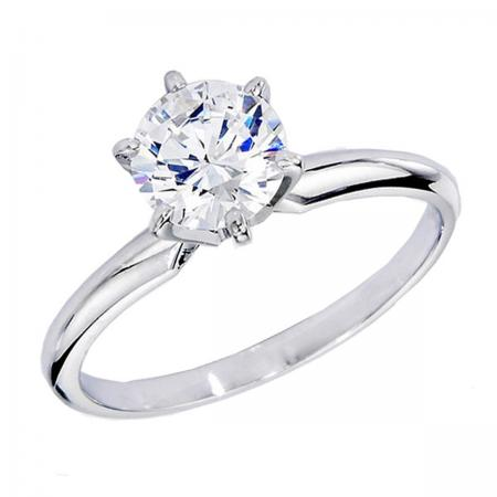 Certified 1.05 Carat (ctw) 14K White Gold Real Round Diamond Ladies Engagement Solitaire Ring 1 CT