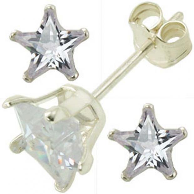 5 mm Silver CZ Star Stud Earrings Clear In Color
