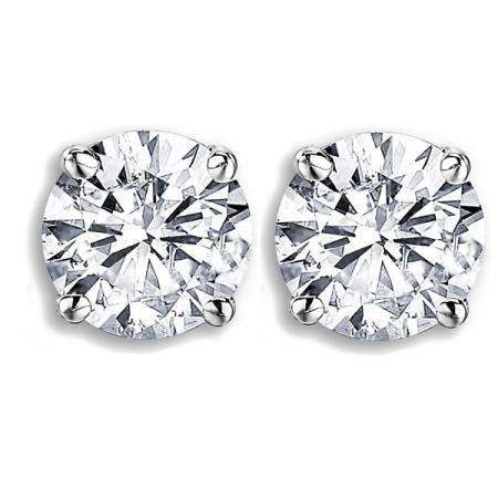Certified 1.00 Carat (ctw) 14K White Gold Round Cut White Diamond Ladies Stud Earrings