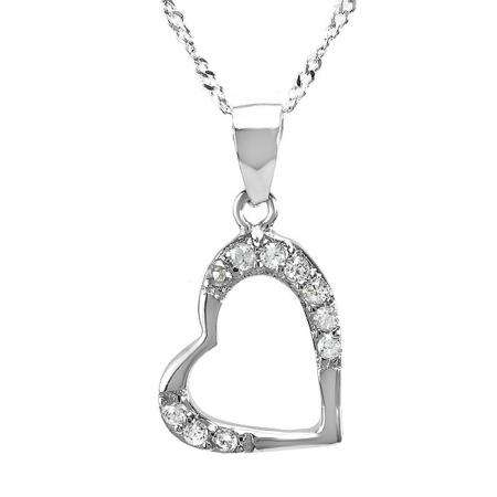 925 Sterling Silver Heart Cubic Zirconia CZ Pendant Mothers Day Special