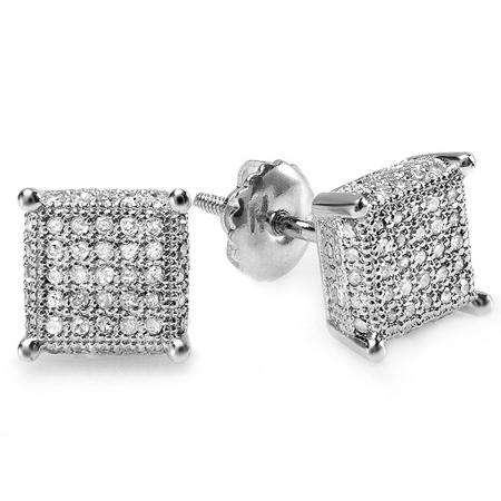 0.50 Carat (ctw) 14K White Real Diamond Ice Cube Dice Shape Mens Hip Hop Iced Stud Earrings 1/2 CT