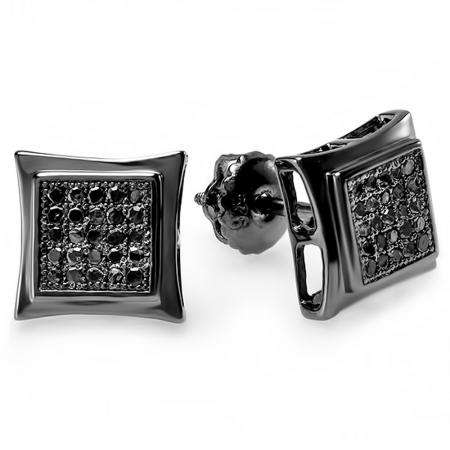 0.15 Carat (ctw) 14K Black Rhodium Plated White Gold Black Real Diamond Kite Shape Mens Hip Hop Iced Stud Earrings