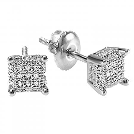0.30 Carat (ctw) Sterling Silver White Real Diamond Ice Cube Dice Shape Mens Hip Hop Iced Stud Earrings 1/3 CT