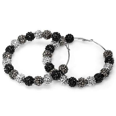 Paparazzi Celebrity Style Three Tone Gunmetal Fireball Crystal Bead Hoop Earrings (3.5 Inches Length x 14 MM Width)