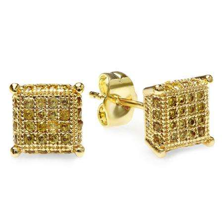 18K Yellow Gold Plated With Yellow CZ Cubic Zirconia Dice Shaped Hip Hop Mens 8mm Iced Cube Stud Earrings