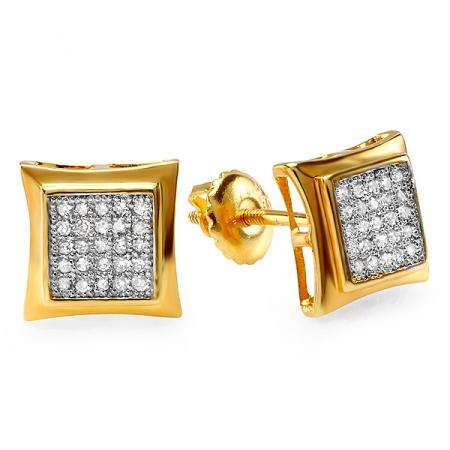 0.15 Carat (ctw) 18K Yellow Gold Plated Sterling Silver White Real Diamond Kite Shape Mens Hip Hop Iced Stud Earrings