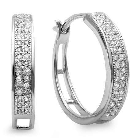 0.33 Carat (ctw) Platinum Plated Sterling Silver Round Diamond Hip Hop Iced Micro Pave Hoop Earrings 1/3 CT
