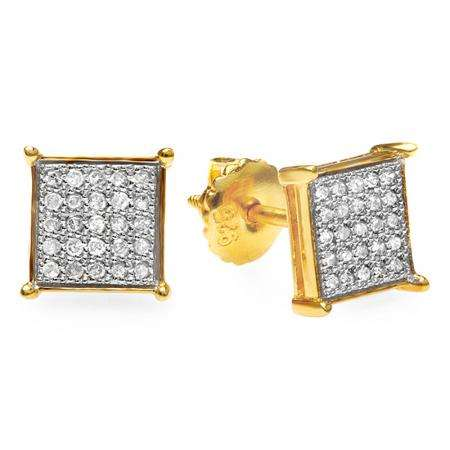 0.33 Carat (ctw) 18k Yellow Gold Plated Sterling Silver Round Diamond Square Shaped Iced Hip Hop Micro Pave Stud Earrings 1/3 CT