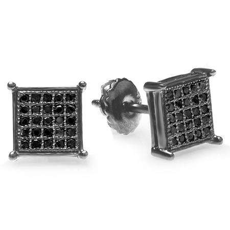 0.15 Carat (ctw) 10K Black Rhodium Plated White Gold Black Round Diamond Micro Pave Square Shape Hip Hop Iced Stud Earrings