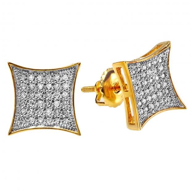 0.33 Carat (ctw) 10K Yellow Gold White Diamond Kite Shape Mens Hip Hop Iced Stud Earrings 1/3 CT