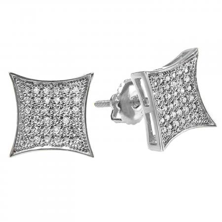 0.33 Carat (ctw) 10K White Gold White Diamond Kite Shape Mens Hip Hop Iced Stud Earrings 1/3 CT
