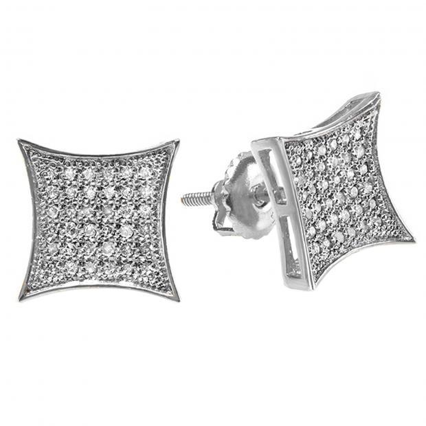 0.33 Carat (ctw) 14K White Gold White Diamond Kite Shape Mens Hip Hop Iced Stud Earrings 1/3 CT