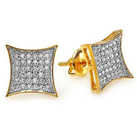 0.33 Carat (ctw) 18K Yellow Gold Plated Sterling Silver White Diamond Kite Shape Mens Hip Hop Iced Stud Earrings 1/3 CT