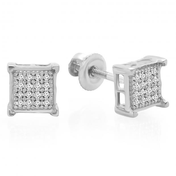 0.10 Carat (ctw) 10K White Gold Real Diamond V Prong Square Mens Hip Hop Iced Stud Earrings 1/10 CT