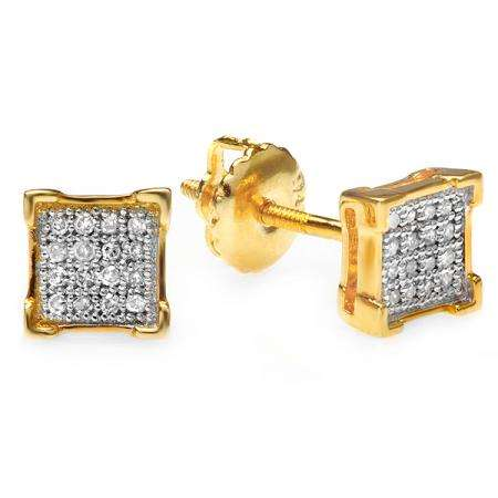 0.10 Carat (ctw) 18k Yellow Gold Plated Sterling Silver Diamond V-Prong Square Mens Hip Hop Iced Stud Earrings