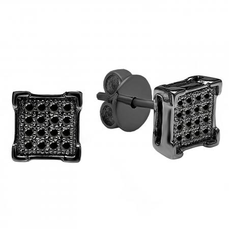 0.10 Carat (ctw) Black Rhodium Plated Sterling Silver Round Black Diamond V-Prong Square Shape Mens Hip Hop Iced Stud Earrings