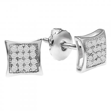 0.05 Carat (ctw) Sterling Silver Platinum Plated Diamond Kite Shape Mens Hip Hop Iced Stud Earrings