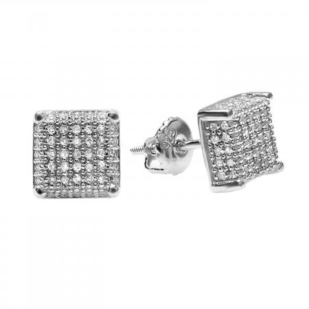 1.00 Carat (ctw) Platinum Plated Sterling Silver Diamond Dice Shape Ice Cube Mens Hip Hop Iced Stud Earrings