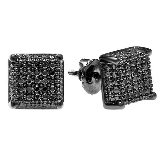 1.00 Carat (ctw) Black Rhodium Plated Sterling Silver Black Diamond Dice Shape Ice Cube Mens Hip Hop Iced Stud Earrings