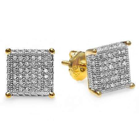 0.50 Carat (ctw) 18k Yellow Gold Plated Sterling Silver Round Diamond Cube Dice Shaped Iced Micro Pave Stud Earrings 1/2 CT