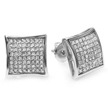 0.75 Carat (ctw) Platinum plated Sterling Silver Round Diamond Mens Hip Hop Iced Stud Earrings 3/4 CT