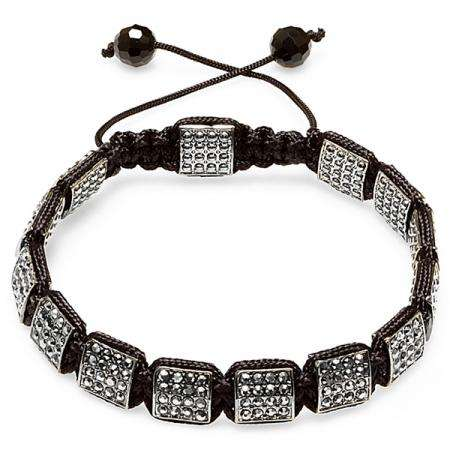 Jazzy Bracelet Mens Ladies Unisex Hip Hop Style Square Charms Jet Genuine Hematite Pave Setting Men Unisex Bracelet