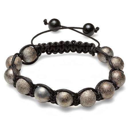 Shamballa Bracelet Pave Mens Ladies Unisex Hip Hop Style Eleven Gun Powder Tone Frosted Ball Bead Adjustable