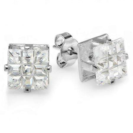2.00 Ct Clear Stud Earrings Square Invisible Cut Princess CZ 6MM Cubic Zirconia 4 Prong Setting Platinum Plated Pushback Post