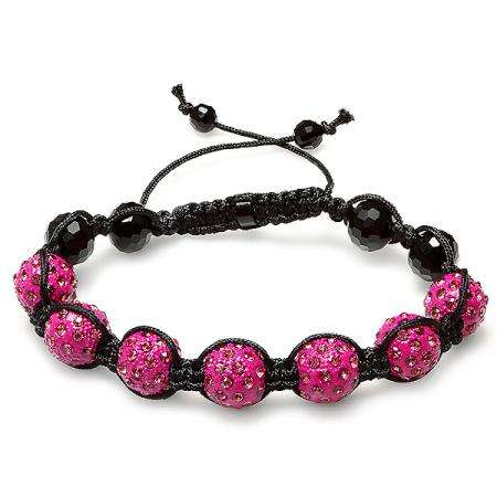 Shamballa Bracelet Mens Ladies Unisex Hip Hop Style Pave Seven Crystal Pink Disco Ball Faceted Bead Adjustable