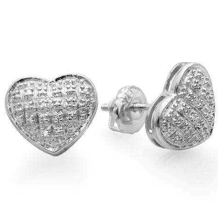 0.10 Carat (ctw) Platinum Plated Sterling Silver Real Diamond Heart Shape Mens Hip Hop Iced Stud Earrings 1/10 CT