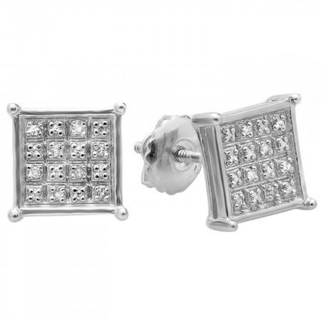 0.10 Carat (ctw) Platinum Plated Sterling Silver Real Diamond Square Shape Mens Hip Hop Iced Stud Earrings 1/10 CT