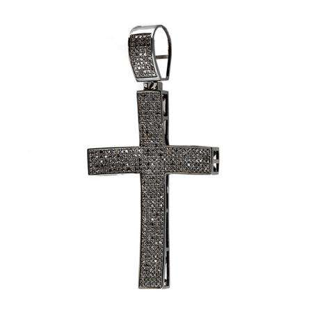 2.00 Carat (ctw) Sterling Silver Black Diamond Micro Pave Mens Hip Hop Style Religious Cross Pendant Necklace FREE CHAIN