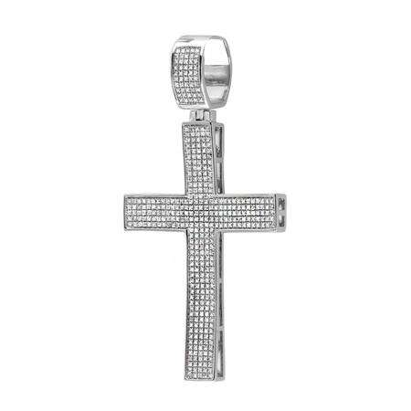 200 Carat Ctw Sterling Silver White Diamond Micro Pave Mens Hip Hop Style Religious