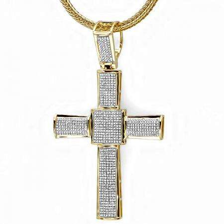 3.00 Carat (ctw) 18K Yellow Gold Plated Sterling Silver White Diamond Micro Pave Mens Hip Hop Style Religious Cross Pendant Necklace FREE CHAIN