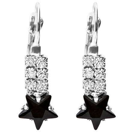 Platinum Plated Black Star Shaped with White Round CZ Cubic Zirconia Ladies Dangling Earrings (9mm Width x 25 mm Length)