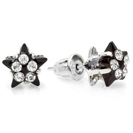 Platinum Plated 9mm Black Star Shape with White Round Crystal Ladies Stud Earrings