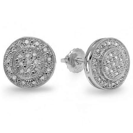0.33 Carat (ctw) Sterling Silver Real Diamond Rhodium Plated Round Shaped Men