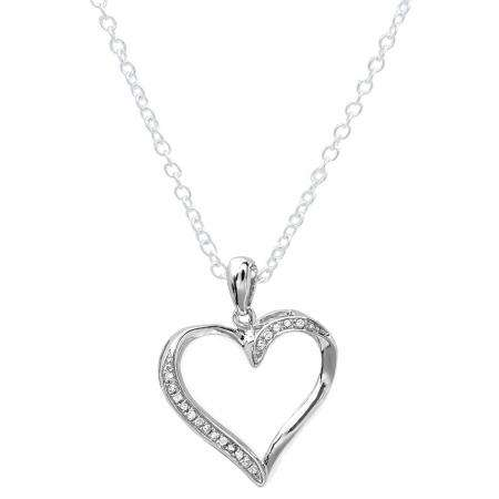 0.10 Carat (ctw) Sterling Silver White Diamond Ladies Heart Pendant 1/10 CT