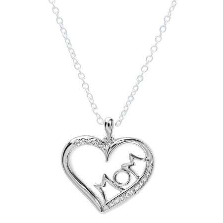 0.10 Carat (ctw) Sterling Silver White Diamond Ladies Heart Moms Gift Pendant 1/10 CT