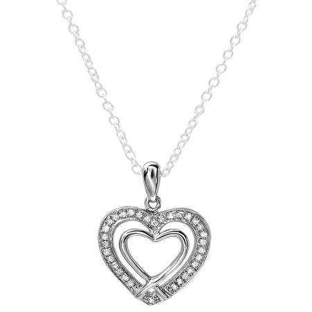 0.20 Carat (ctw) Sterling Silver White Diamond Ladies Double Heart Pendant 1/5 CT