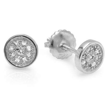 0.10 Carat (ctw) Platinum Plated Sterling Silver Round Diamond Circle Shape Mens Hip Hop Iced Stud Earrings