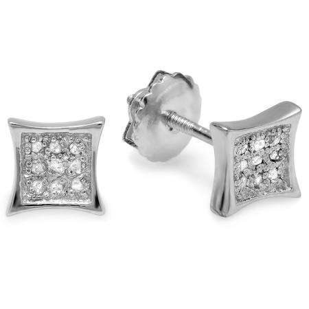 0.10 Carat (ctw) 10K White Gold Round Diamond 5.5mm Kite Shape Mens Hip Hop Iced Stud Earrings 1/10 CT