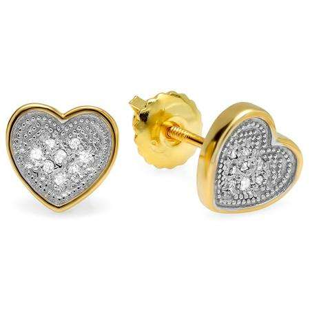 0.10 Carat (ctw) 18K Yellow Gold Plated Sterling Silver Round Diamond 7mm Heart Shape Mens Hip Hop Iced Stud Earrings