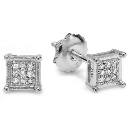 0.10 Carat (ctw) Platinum Plated Sterling Silver Round Diamond Square Shape Mens Hip Hop Iced Stud Earrings