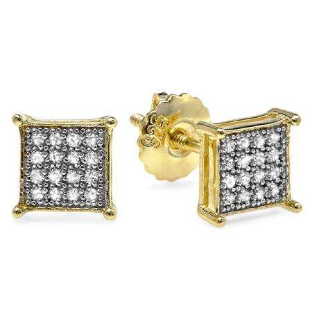 0.25 Carat (ctw) 18K Yellow Gold Plated Sterling Silver Real Round Diamond Dice Shaped Hip Hop Iced Cube Stud Earrings