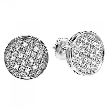 0.20 Carat (ctw) Platinum Plated Sterling Silver Round Diamond Circle Shape Mens Ladies Unisex Hip Hop Iced Stud Earrings